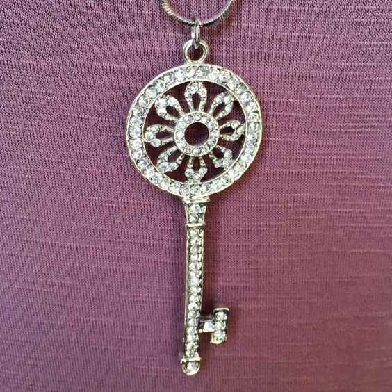 "Beautiful Jeweled Key Necklace! Wonderfully detailed jeweled key necklace with a 32"" chain. Jewelry Necklaces"
