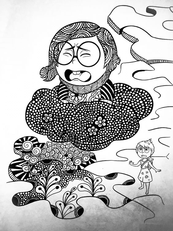 Disney Zentangle Coloring Pages : Bought an inside out coloring book to zentangle in