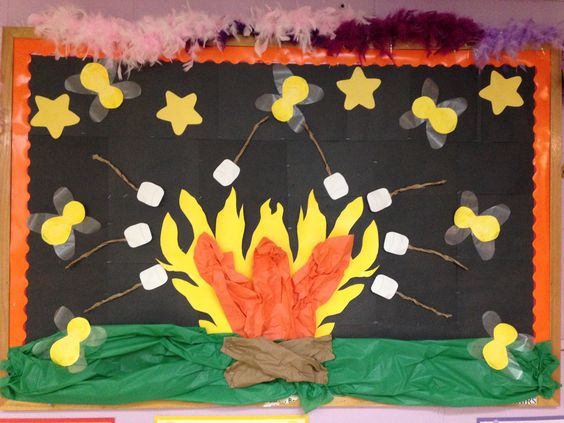 Campfire Bulletin Board With Marshmallows And Fireflies