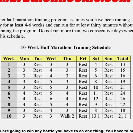 how to train for a half marathon in 10 weeks