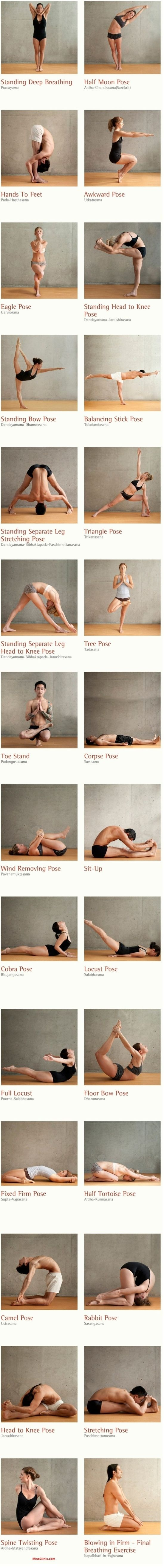 BIKRAM, 26 postures. Consisting of 26 postures and 2 breathing exercises, Bikram Yoga positions focuses on 100% of the human body, working from the inside out. The 26 Bikram yoga poses invigorate by stimulating the organs, glands, and nerves; each pose helping to move fresh oxygen through the body.
