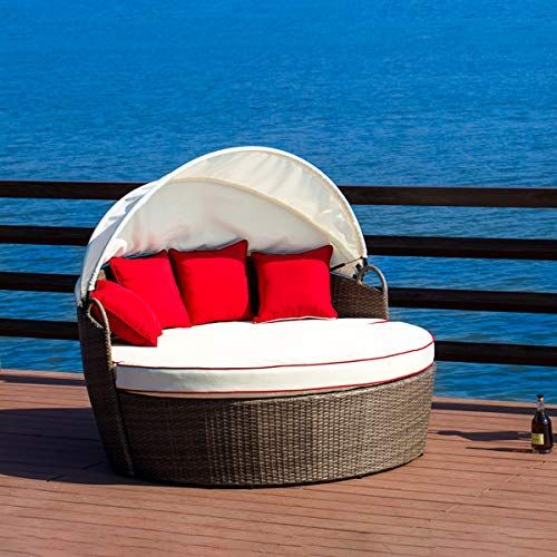 Lokatse Home Patio Round Daybed With Retractable Canopy Outdoor Wicker Rattan Furniture Sofa All Weather Woven Outdoor Furniture Outdoor Daybed Outdoor Wicker