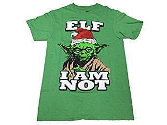Amazon.com: Star Wars Yoda Wearing Santa Hat Elf I Am Not T Shirt: Clothing