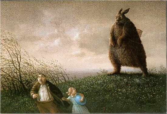 If this seems familiar it's by the same artist (Michael Sowa) who did the paintings in Amelie. J'adore!
