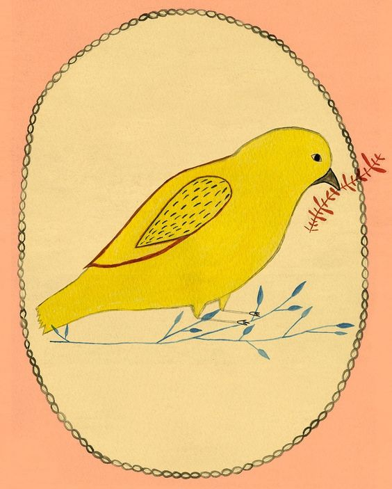 Peace Offering yellow bird by ashleyg on Etsy