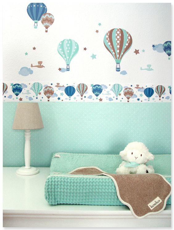 heißluftballons boys taupe/mint: selbstklebende kinderzimmer