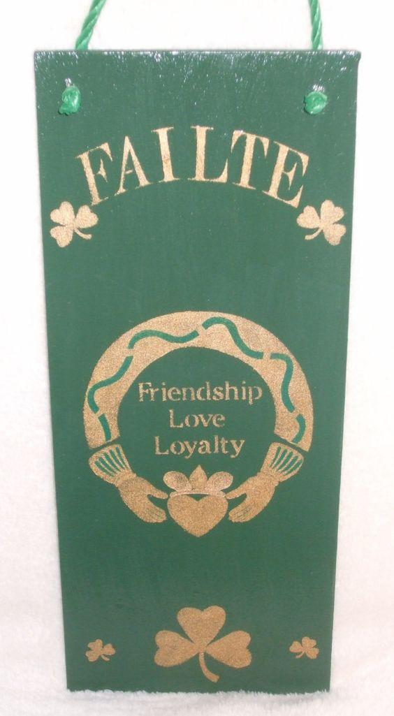 Irish Sign~FAILTE~An Irish Welecom~The Claddagh~Friendship, Love, Loyalty by mareestreasures on Etsy