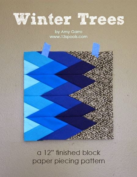 """FREE Winter Trees pattern - a 12"""" Paper Pieced Block. Great for small projects or a vivid modern quilt by 13 Spools"""