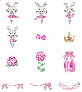 """""""BabyCuteTutuBunny"""" This darling set includes 19 sweet designs perfect for little girls. Ballerina bunny, ballerina shoes and more!"""