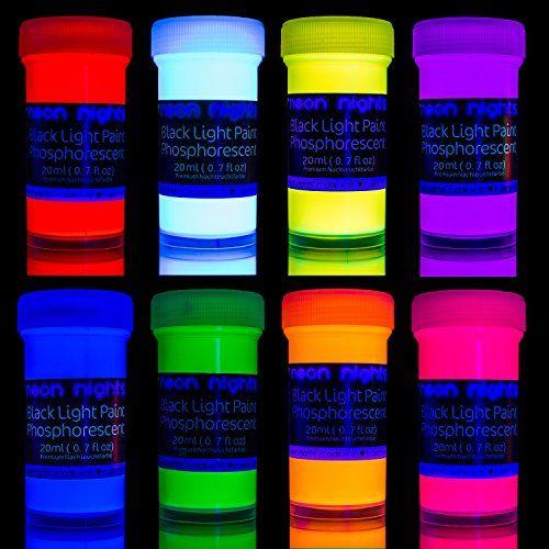 Premium Glow In The Dark Paint Set By Neon Nights Set Of 8 Professional Grade Neon Paints Glow Paint Luminous Paint Neon Painting