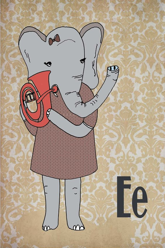 E is for Elephant playing the euphonium - 4 x 6 Matted Print. $12.00, via Etsy.