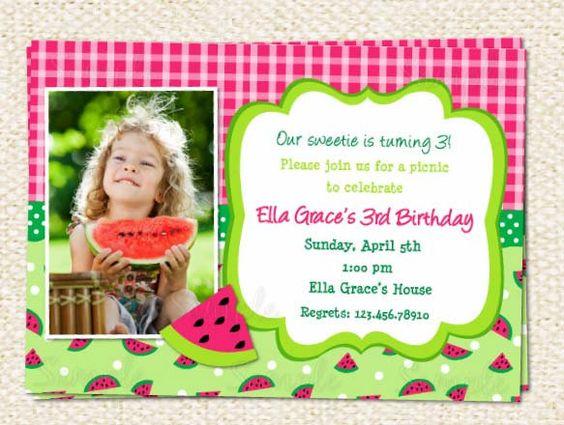birthday invitations, invitations and watermelon on pinterest, Birthday invitations