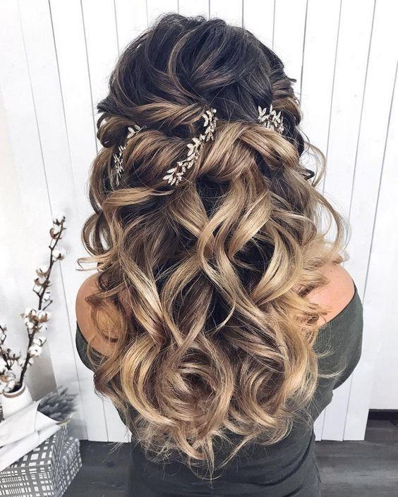 28 Captivating Half Up Half Down Wedding Hairstyles Wedding Hairstyle With Braids Medium Length Hair Styles Braided Hairstyles For Wedding Medium Hair Styles