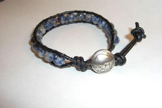 Sodalite Single Leather Wrap Bracelet by NuthatchNest on Etsy, $26.00