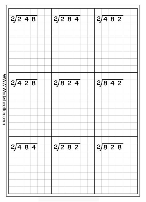 Long Division 3 Digits By 1 Digit No Remainder 20 Worksheets – Division Worksheets for Grade 1