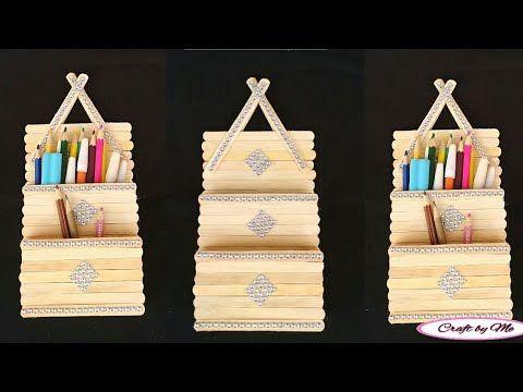 Cara Membuat Tempat Pensil Gantung Dari Stik Es Krim Ide Kreatif Dari Stik Es Krim Youtube Tempat Pensil Es Krim Kreatif