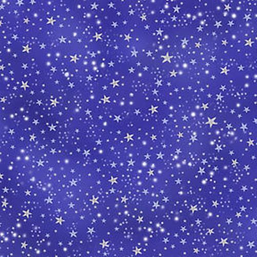 Michael miller stars night sky silver metallic fabric for Night sky material