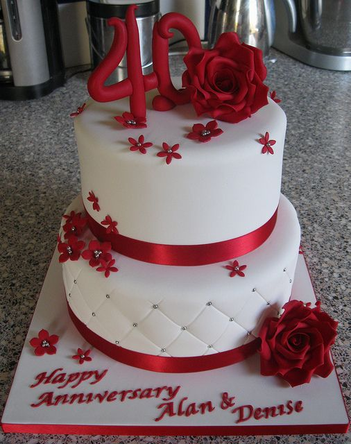 Ruby Wedding Anniversary cake - For all your cake decorating supplies please visit craftcompany.co.uk