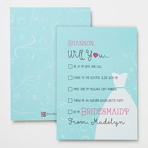 """LOVE LOVE LOVE this! It's a """"Will You Be My Bridesmaid?"""" Personalized Card - you can customize it to say anything you want .... this is so cute! What a great way to ask your friends and family to be apart of your wedding! #wedding #bridesmaid #bridesmaidcard #willyoubemybridesmaid #bridesmaidgift"""