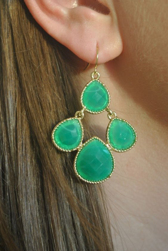 Cassie Earrings in Emerald - $12.00