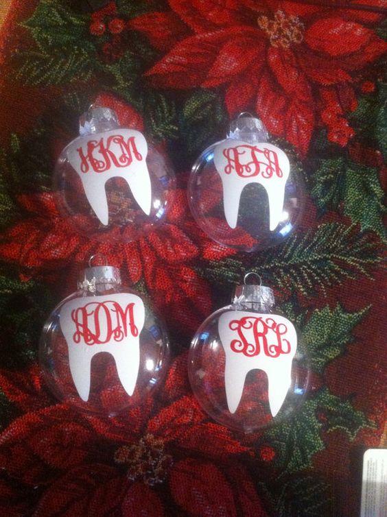 Dental Tooth Monogram Christmas Ornament by SLMonograms on Etsy