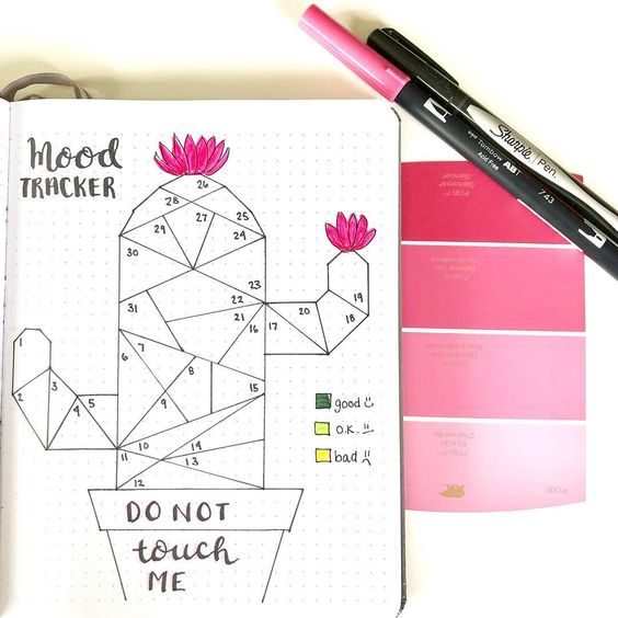 Bullet Journal rose :mood trakcer