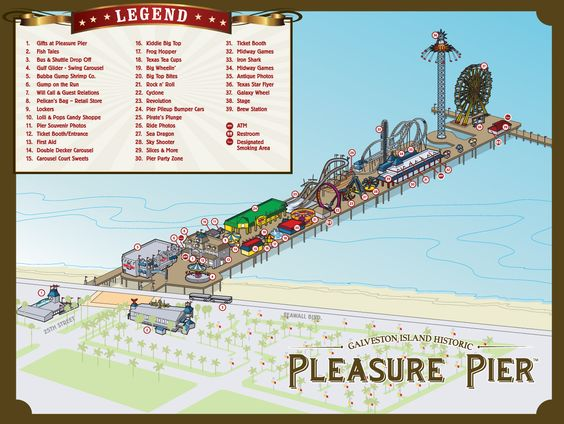 Pier Map Pleasure Pier Galveston ride info – Galveston Tourist Map