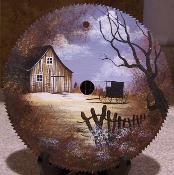 Hand Painted Circular Saw Blade Amish Buggy & Barn. $9.94, via Etsy.