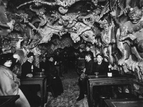 Café or Cabaret de L'Enfer (Hell's Café), Paris, late 19th century. A hot spot called Hell's Café lured 19th-century Parisians to the city's Montmartre neighborhood - like the Marais - on the Right Bank of the Seine. With plaster lost souls writing...