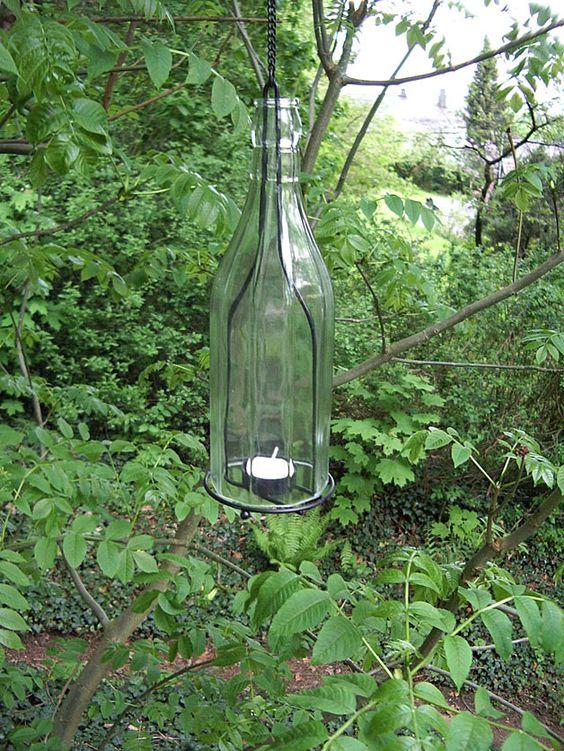 Vintage Gartendeko - Windlicht, Flasche, zum Hängen, Vintage - ein ...