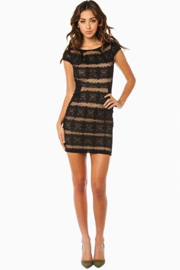 Danica Dress in Black and Nude Lace