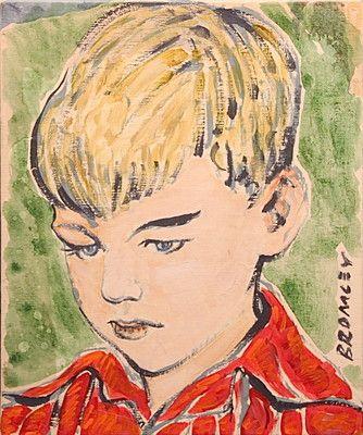 "DAVID BROMLEY ""Boy"" Original Painting on Canvas, Signed, 30cm x 25cm"