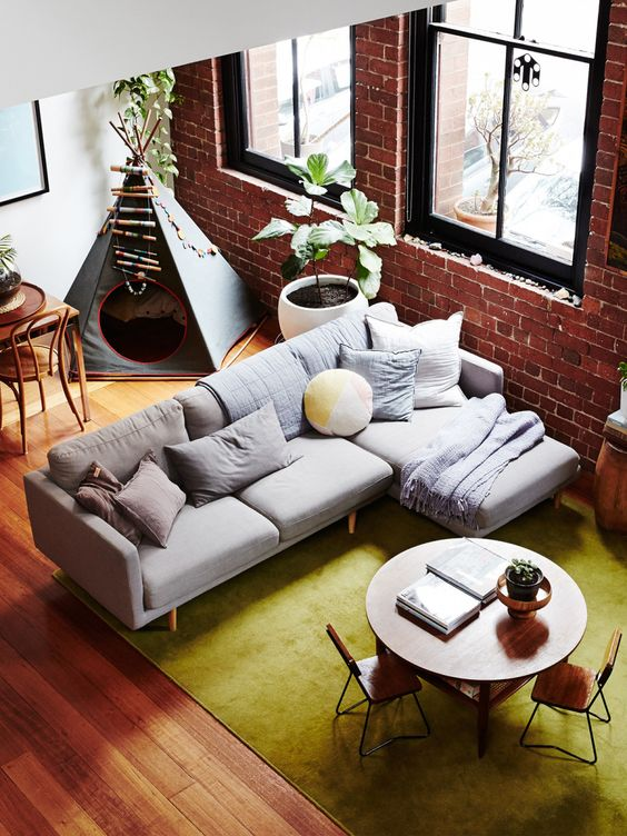 Warehouse Apartment With Exposed Brick Wall In Australia