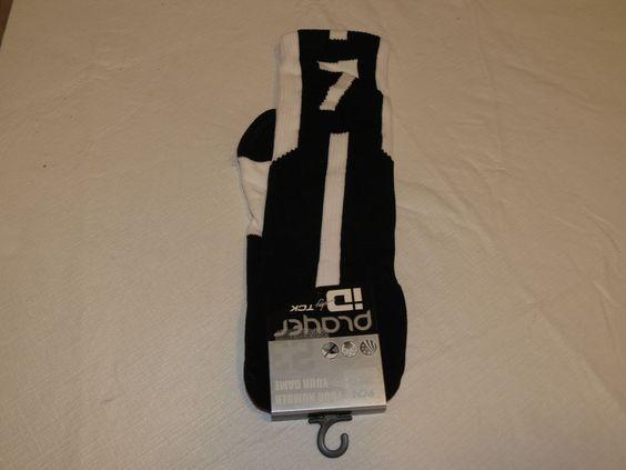 Player ID by TCK PCN MED # 7 TWI 1 sock black white vollyball basketball soccer #TCK #crewsock