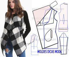 Observe e analise a transformação do molde casaco xadrez feminino que proponho…