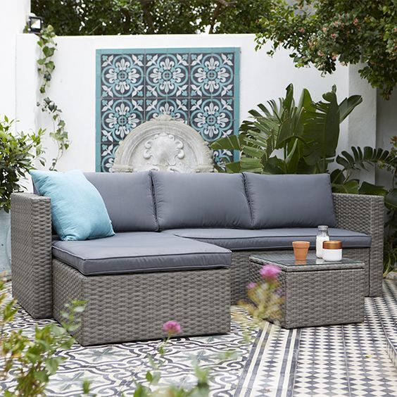 Relax And Unwind On Our Alexandria Corner Sofa Which Comes Complete With Plump Cushions And A Glass Top Coffee Corner Sofa Garden Garden Sofa Set Garden Sofa