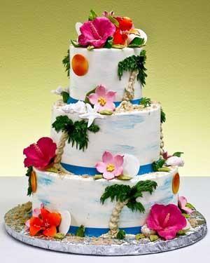 Para tu #boda estilo hawaiana exquisita torta con fondant muy colorido y llamativo http://www.bodasmargarita.net