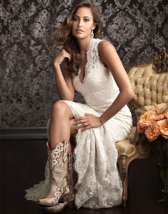 Vintage High Low Outdoor Country Lace Wedding Dress On Luulla