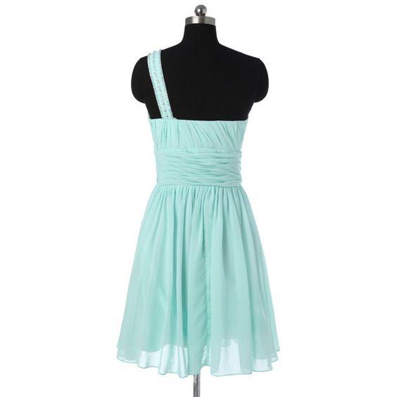 Short One Shoulder Bridesmaid Dress Mint by StarCustomDress