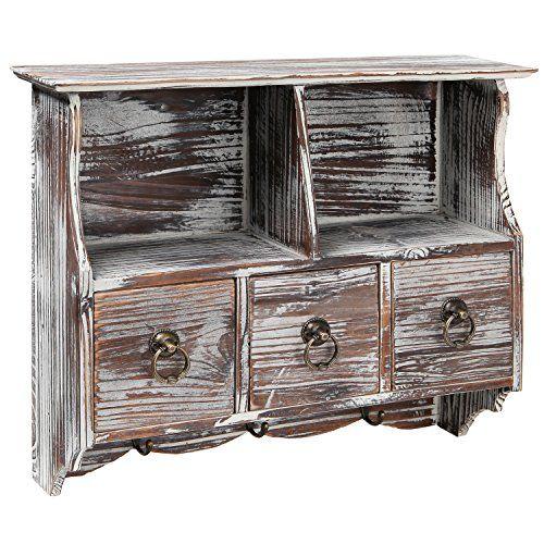 Country Rustic Brown Wood Wall Organizer Shelf Rack / Wal…