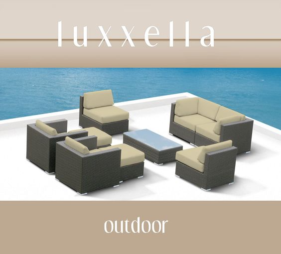 Outdoor Patio Furniture All Weather Wicker MALLINA II Modern Sofa Sectional 7pc Couch Set LIGHT BEIGE Rattan Furniture #Rattanfurniture #PatioFurniture #WickerFurniture #OutdoorFurniture