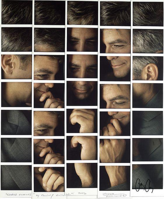 maurizio galimberti mosaics polaroid portrait compositions - george clooney
