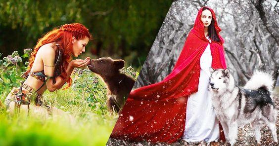 Darya, une talentueuse photographe russe, a réalisé une fascinantesérie de clichés où des jeunes femmes apprivoisent des animaux sauvages. Des photographies tout droit sorties des contes de fées...  La photographe russe Darya Kondratyevan