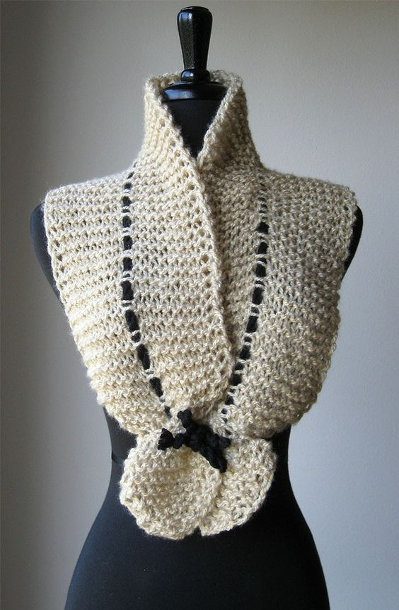 Knitting Patterns For Collar Scarf : Golden Beige Cream Color Knitted Scarf Ruffled Collar Scarflette with Black C...