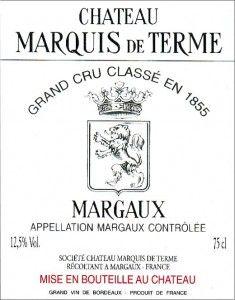 Château MARQUIS DE TERME - Margaux - Quatrième Cru Classé