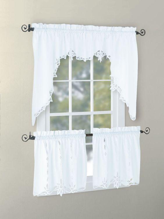 Cotton Handmade Battenburg Lace Valance Swag Tier White Ecru ...