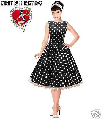 Details about British Retro Swing Black &amp White Polka Dot Dress ...