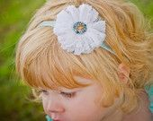 White Lace and Tulle Flower with rhinestone attached to a Aqua Glitter Headband (Newborn-Adult)        http://www.etsy.com/shop/PACraftsfromtheHeart