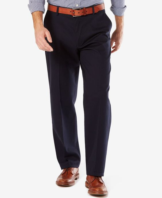 Dockers Men's Signature Relaxed-Fit Khaki Flat-Front Stretch Pants