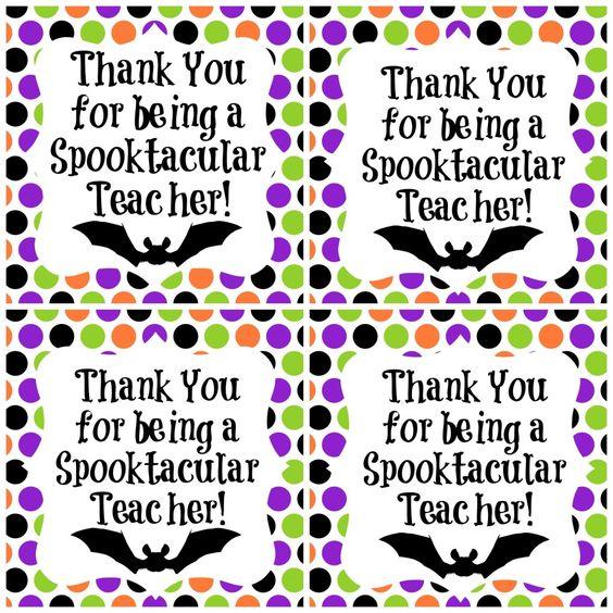 Spooktacular Teacher Freebie Halloween gift ideas